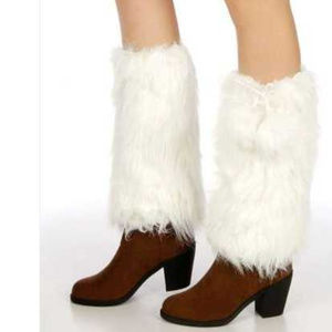 Faux fur boot covers with satin liner  Elastic at